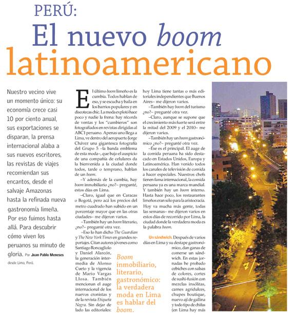 Perú, el nuevo boom latinoamericano
